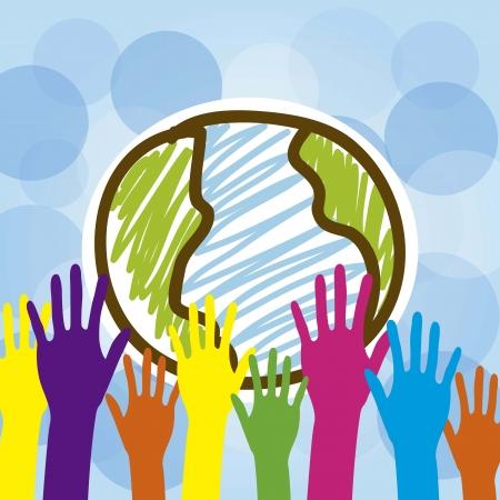 educazione ambientale: Mani colorate tengono il, illustrazione vettoriale pianeta Vettoriali