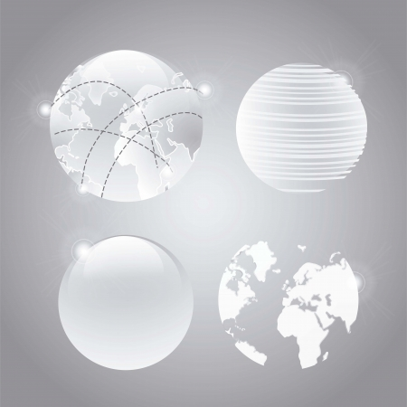 Abstract Earth globe composition on grey background, vector illustration Stock Vector - 16703276