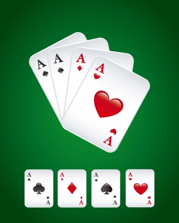Playing cards over green background. vector illustration Stock Vector - 16841390
