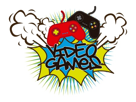 video games with gamepads background. vector illustration Vector