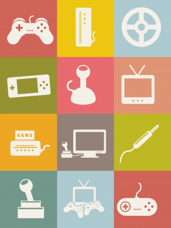 personal data assistant: video game icons, vintage style. vector illustration