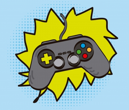 gamepad over cartoon background, hand drawing. vector illustration Vector