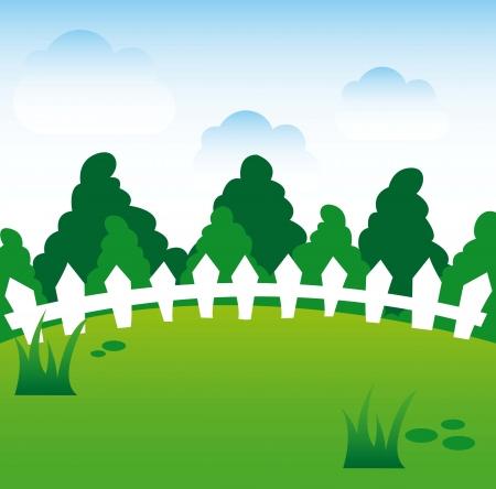 spring cartoon landscape background. vector illustration Stock Vector - 16841240