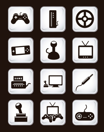personal data assistant: video game icons over black background. vector illustration