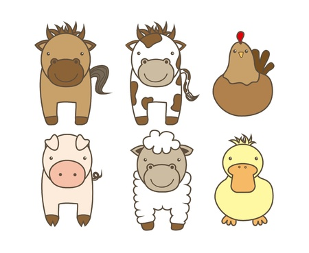 illustrated: farm animals over white background. vector illustration