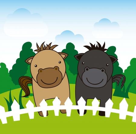 cartoon landscape over horse background. vector illustration Stock Vector - 16841409