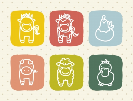 farm animals over beige background. vector illustration Stock Vector - 16841408