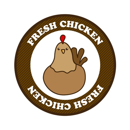fresh chicken label over white background. vector illustration Stock Vector - 16841272