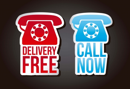 call now and delivery free labels over black background. vector Vector