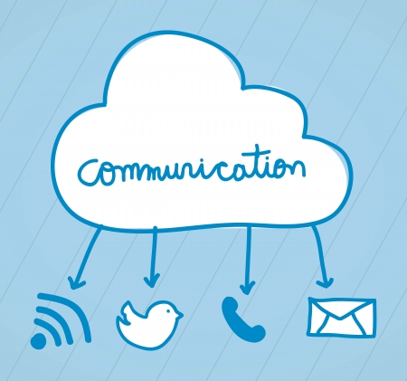 communication signs over blue background. vector Vector
