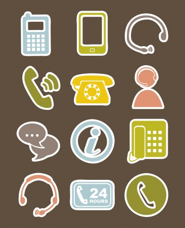 movile icons over brown background. vector illustration Vector