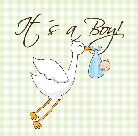 green baby shower card, boy. vector illustration Stock Vector - 16841378