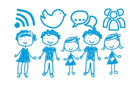 communication signs with children over white background. vector Stock Vector - 16841090