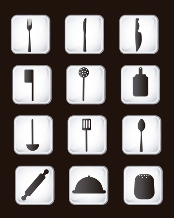 cutlery icons over vintage background. vector illustration Vector