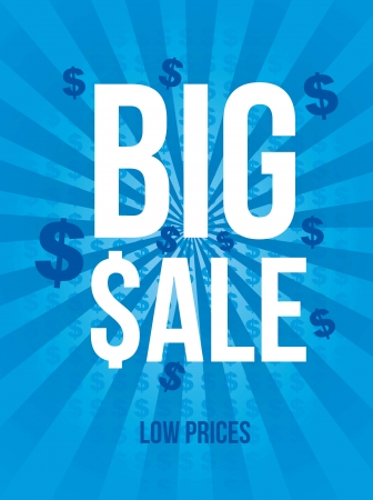 big sale announcement over blue background. vector Stock Vector - 16841513
