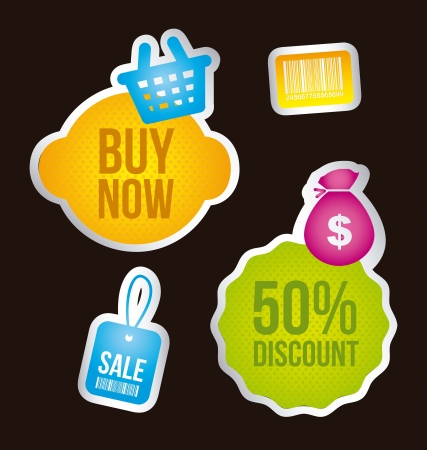 buy icons over labels over black background. vector illustration Vector