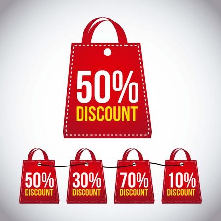 super market: big sale bags over gray background. vector Illustration