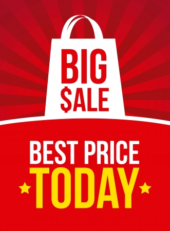 big sale announcement over red background. vector Vector