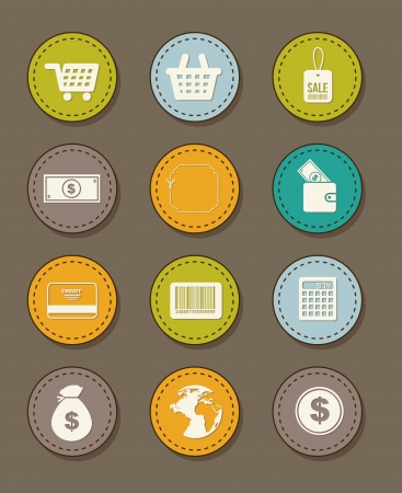 buy icons over brown background. vector illustration Vector