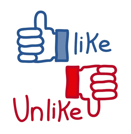 dissatisfaction: like and unlike icons over white background. vector Illustration