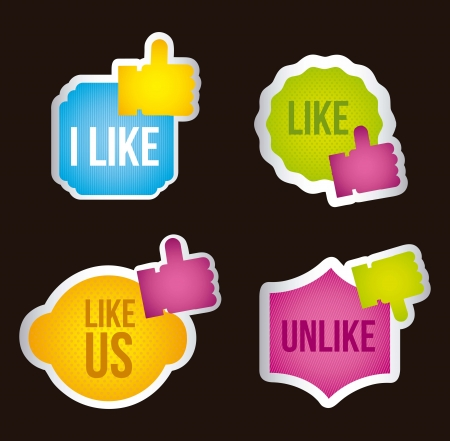 colorful like icon labels over black background. vector Stock Vector - 16841483