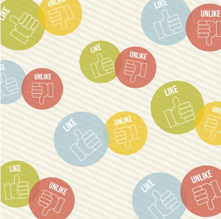 like and unlike icon over vintage background. vector Stock Vector - 16841395
