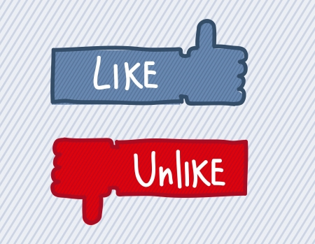 unlike: like and unlike icon  over blue background. vector illustration