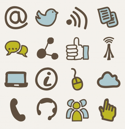 communication signs over beige background. vector Stock Vector - 16841230