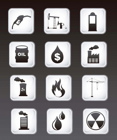 flaring: oil icons over black background. vector illustration