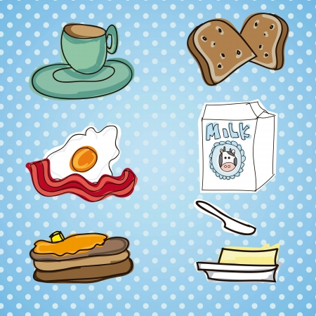 continental food: illustration of breakfast meal with bread,butter,egg,mi lk and bacon Illustration