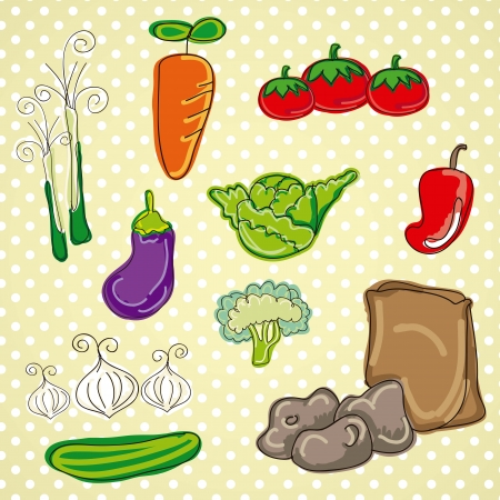 Colorful and Cute vector Icons vegetable, food isolated  Vector