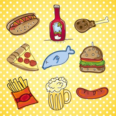 Fast Food Icons Vector collection of snack food  Vector