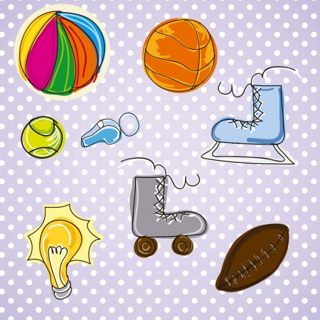 different pictures of sports on vintage background Vector