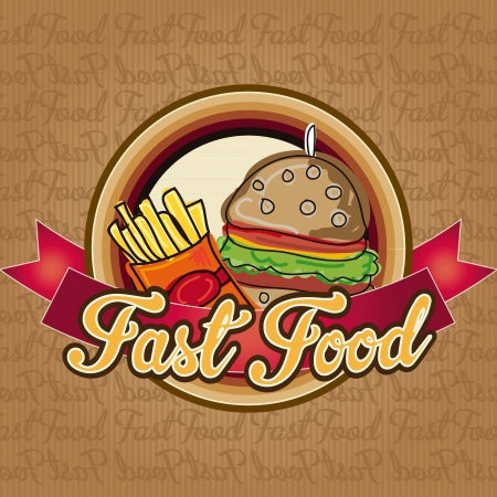 Burger with fries, menu fast food icon Vector