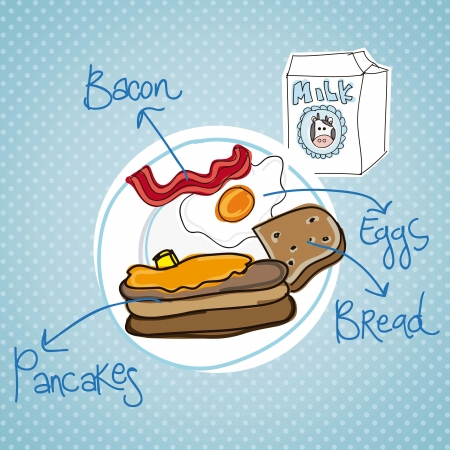continental food: Illustration of breakfast meal on blue background
