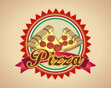 Pizza, label design vintage background Vector illustration.  Vector