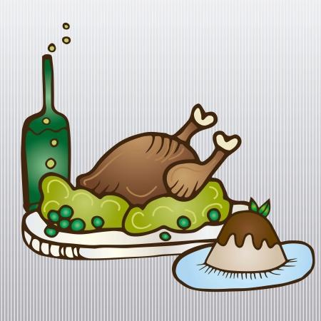 Full Thanksgiving dinner on silver background. Vector Illustration Stock Vector - 16841010
