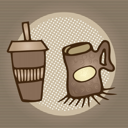 encasement: Hot coffee ready to take, on vintage background Illustration