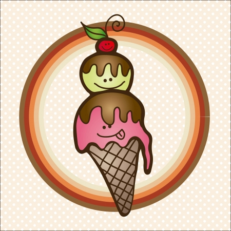 helado caricatura: hielo crema cono de dibujos animados sobre fondo de la vendimia