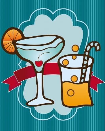 Cocktail glasses on blue stripe background, vector illustration Vektoros illusztráció