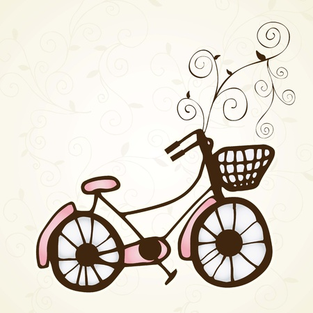 stationary bike: Bicycle with spiral and a basket  Romantic  card