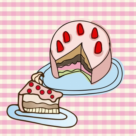 birthday cake portion on pink striped background,  vector illustration Stock Vector - 16841533