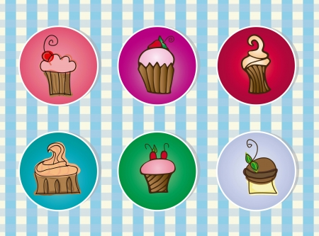 Cupcakes Icons on blue striped background,  vector illustration Vector