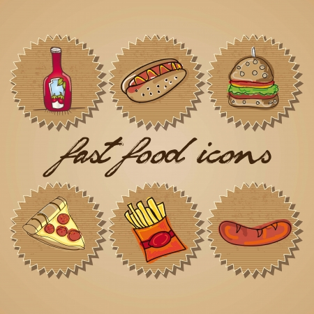Retro Fast Food Icons Labels. Vector collection Vector
