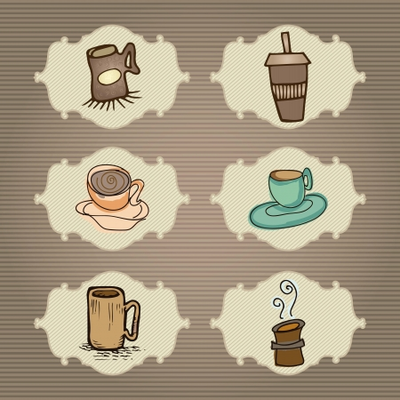 Set of cups of coffee on vintage background Stock Vector - 16841552