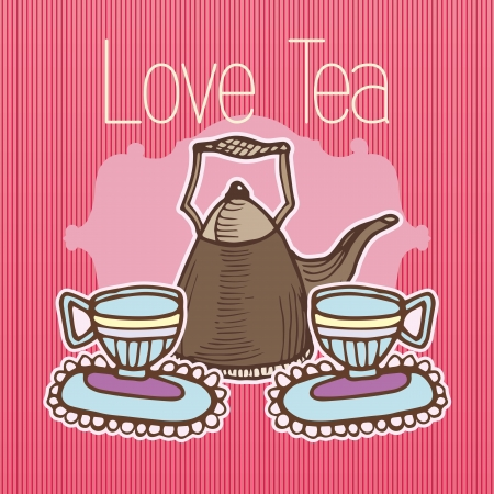Cups of Tea on pink striped background Stock Vector - 16841541