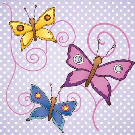 Cute Butterflies Card, on purple background vector illustration Stock Vector - 16841544