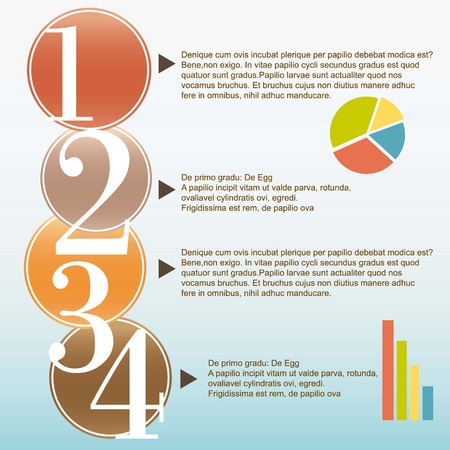 numbering: Numbering in retro colored circles, for infographics. Vector illustration