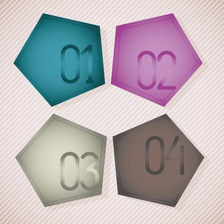 pentagon: Numbers Icons on soft colors pentagon, vintage background.