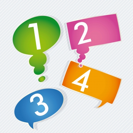 Numbers Icons on colorful text balloons. Silver background Vector